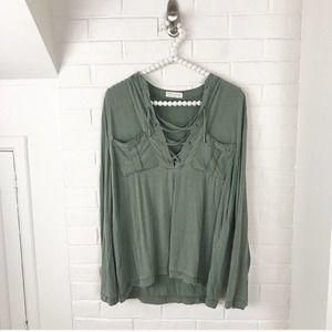 {Just Living} Green Lace Up Detail Top